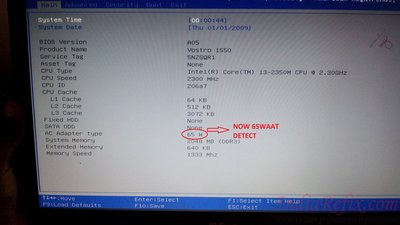 62) DELL VOSTRO 1550 NOT DETECT 65W ADAPTER NOT CHARGING ISSUE
